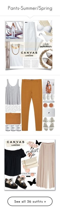 """Pants-Summer/Spring"" by candiseotsuka ❤ liked on Polyvore featuring Glenda López, Canvas by Lands' End, Bliss Studio, Lands' End, Polaroid, Bare Escentuals, Zara, Comme des Garçons, H&M and Faith"
