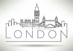 London City Skyline Silhouette Typographic Design royalty-free london city skyline silhouette typographic design stock vector art & more images of urban skyline Doodle Drawings, Doodle Art, Vector Design, Vector Art, Design Art, Design Model, Icon Design, Skyline Design, Skyline Logo