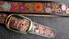 Pastel Flower Garden with Bugs Leather Belt with Black Border made in GA USA $132.04 MXS