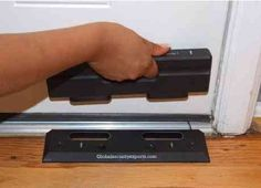 security-door-brace. evidently this lil gadget can keep someone from kicking your door down. sweet