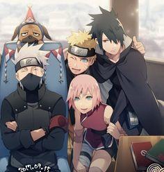 Naruto🍥: Team 7 with Hokage Kakashi Sensei Naruto Shippuden Sasuke, Naruto Kakashi, Anime Naruto, Naruto Team 7, Naruto Cute, Naruto Sasuke Sakura, Sakura Haruno, Team Minato, Anime Ninja
