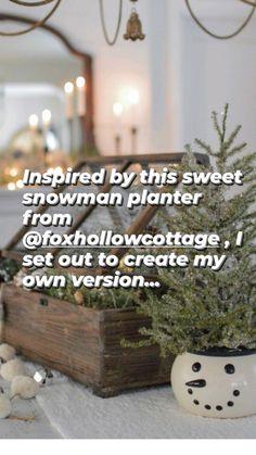 Farmhouse Christmas Decor, Christmas Crafts, Christmas Decorations, Seasonal Decor, Holiday Decor, Holiday Ideas, Rustic Winter Decor, Glass Planter, Snowman Crafts