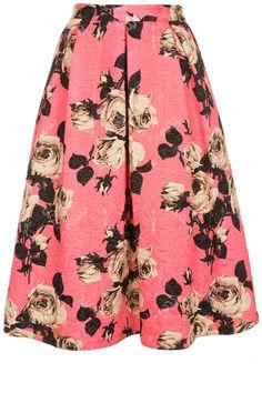b1218a0780c9 Topshop Rose Texture Midi Skirt Midi Flare Skirt