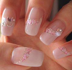 Day type Pink Chic Nails, Stylish Nails, Swag Nails, Nail Tip Designs, French Nail Designs, Japanese Nail Design, Nail Mania, Nails Design With Rhinestones, Pretty Nail Art
