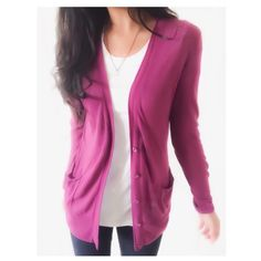 """Anthropologie Lightweight Purple Cardigan This plum purple cardigan has a lightweight knit, awesome for layering & keeping in your closet multiple seasons. The color is rich & gorgeous. By Anthro brand Moth{actual color of item may vary slightly from photos}  •shoulders:20"""" •chest:22"""" •waist:19""""w •length:25.5"""" •sleeve:25""""  Material:52% linen 47%cotton 1%spandex ️️️️️hand wash  Fit:fits longer might work for med  Condition:small hole by collar in back & distressed buttons   ❌no holds ❌no…"""