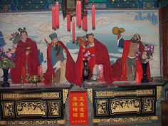 The Eight Immortals are a group of eight Xian 八仙 or immortals in Chinese mythology. Each Immortal's power can be transferred to a tool of power (法器) that can give life or destroy evil. At 白云观 White Cloud Temple, Beijing Feng Shui, Chinese Mythology, Taoism, Tibetan Buddhism, World Religions, Beijing, Chinoiserie, Big Pineapple, Old Things