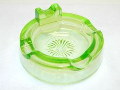 Vintage Depression Glass Vaseline Glassware Green Decorative Collectible Glass