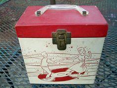 Vintage 1950s 45 Record Case SALE. $49.99, via Etsy.