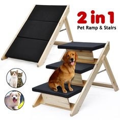 Amazon.com : Best Choice Products® Folding 2 In 1 Pet Ramp U0026 Stairs For  Dogs Cats Pet Steps Ladder Animal Portable : Pet Supplies | Misc.