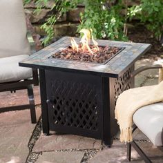 #firepit Outdoor Fire Pit Table Propane Gas Free Cover Steel and Slate Tile Patio Heater