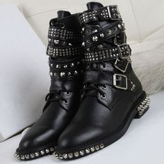96.71$  Watch now - http://alieku.worldwells.pw/go.php?t=32759243024 - 2016 New Fashion Women Winter Motorcycle Martin Boots Rivets Studded military Boots Lace Up Ankle Boots Cool Punk Shoes Women 96.71$