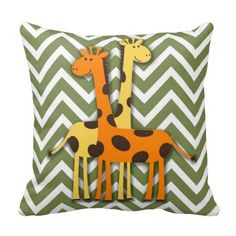"""Cute yellow and orange giraffes on green and white chevron pillow.  16""""x16"""" , 20""""x20"""", 13""""x21"""".  http://www.zazzle.com/littlethingsdesigns?rf=238200194340614103"""