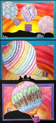 Teach movement with this colorful hot air balloon project. It's a great Spring art project for elementary art students. Spring Art Projects, Art Projects For Adults, Toddler Art Projects, School Art Projects, Middle School Art, High School, Creation Art, 5th Grade Art, Ecole Art