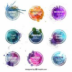 Bunte Aquarell-Etiketten