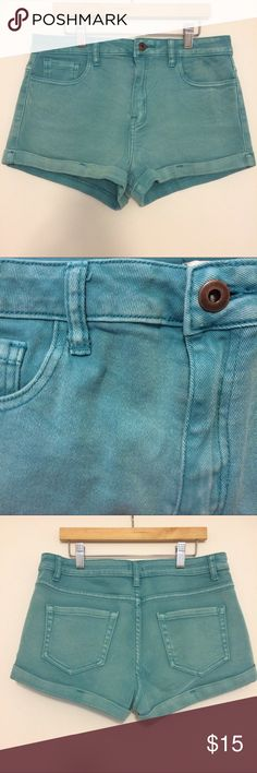 Turquoise stretch denim high waisted cuff shorts These super soft and comfy stretch denim shorts are a beautiful teal turquoise color that's purposely faded for that on-trend weathered vibe. Featuring cuffed bottoms (that won't roll down!) and pockets on both front and back for your convenience. Only worn a twice, great condition! Size 29. Purchased from Forever21.com. Forever 21 Shorts