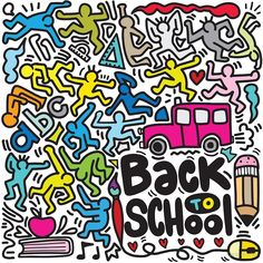 Back to school poster with doodles Premium Vector Back To School Clipart, Back To School Art, Back To School Bulletin Boards, Back To School Crafts, Geometric Lines, Geometric Background, Bacteria Cartoon, Back To School Bullet Journal, Back To School Checklist