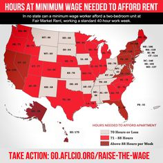 Hours at minimum wage needed to afford apartment