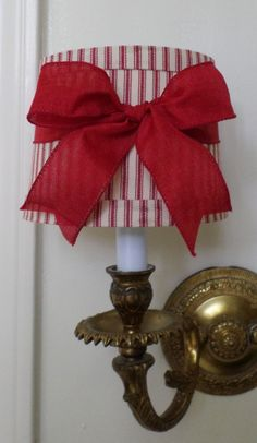 Mini Drum Lamp Shade for Chandelier or Sconce in a Red ticking fabric with Red Linen Bow Clip On French Country or Cottage Chic Ribbon Lamp Shades, Wall Lamp Shades, Hanging Lamp Shade, Shabby Chic Lamp Shades, Rustic Lamp Shades, Cottage Chic, Country Lamps, Country Decor, Chandelier Makeover