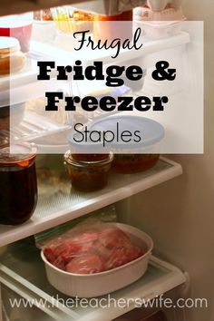FRUGAL FRIDGE & FREEZER STAPLES.  This list of frugal fridge and freezer staples is basic, but is a great starting point if you are looking to cook more at home but your fridge is bare. I always keep these items on hand and it makes meal prep so much easier!
