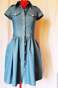 Купить Джинсовое платье -рубашка для Екатерины. - синий, однотонный, джинс хб стрейч