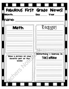 First Grade Newsletter from MiTeacher Girl Store on TeachersNotebook.com (2 pages)  - Heres a newsletter that makes the student the expert on their weekly learning and recall. It includes all content areas, special classes, and reflection on what they did well, and how to improve their learning. 1st-5th grades available---FREE!!!