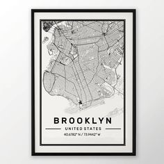 Brooklyn ville carte impression affiche moderne contemporain