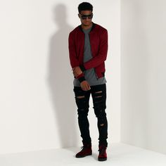 Suede Bomber Jacket - Deep Red