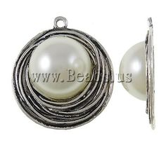 Zinc Alloy Flat Round Pendants, antique silver color plated, nickel, lead & cadmium free, 41x14mm - beads.us