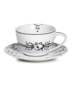 Take a look at this White Cappuccino Cup & Saucer by Miss Blackbirdy on #zulily today! $10 !!
