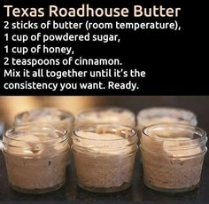 Make and share this Texas Roadhouse Butter recipe from Genius Kitchen. Make and share this Texas Roadhouse Butter recipe from Genius Kitchen. Texas Roadhouse Butter, Texas Roadhouse Rolls, Texas Roadhouse Recipes, Texas Roadhouse Steak Seasoning, Texas Roadhouse Sweet Potato Recipe, Texas Roadhouse Ranch Dressing Recipe, Texas Roadhouse Cinnamon Honey Butter Recipe, Think Food, Love Food