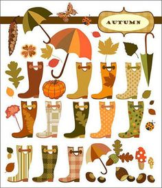 Wellingtons outono e outros elementos. gosta. bonito.