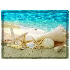 Beach Conch Starfish Water Absorbing Bathroom Floor Mat (20 BAM) ❤ liked on Polyvore featuring home, bed & bath, bath and bath rugs