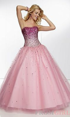 Long Strapless Sweetheart Ball Gown at PromGirl.com Love the top and how it mixes with the bottom