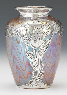Loetz Phanomen art glass vase with silver overlay, 4 in high, 3 in. wide