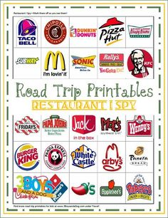 DIY Ways To Make Traveling Suck Less Road Trip Printables for Kids: Restaurant I Spy - and check out the links on the page to more fun travel activities and ideas for that long drive to Disney World!
