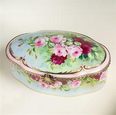 Limoges Pale Acqua Antique Soft Roses Treasure Chest The Cottage Shop