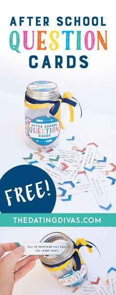Free Printable After School Question Cards! 25 great questions to ask kids after school to start meaningful conversations.