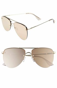 86f92cb4ccc1 Le Specs The Prince 59mm Mirrored Rimless Aviator Sunglasses