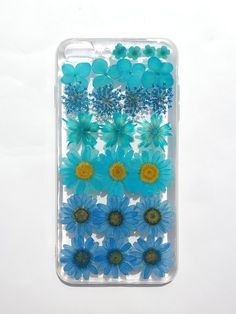 Annys workshop, Handmade phone case, Pressed flowers phone case, Apple iPhone 8 Plus, Blue color