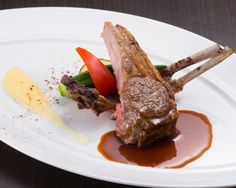 Sauteed Lamb with Apple Puree, Red Wine Sauce