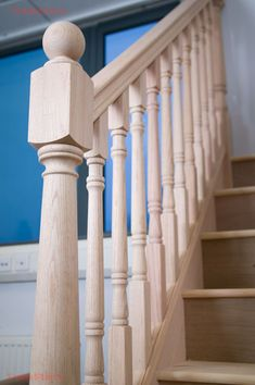 Railings, Spindels and Newel Posts for Stairs Oak Stairs, Wooden Stairs, House Stairs, Wooden Fence, Stair Spindles, Banisters, Interior Staircase, Staircase Design, Door Molding