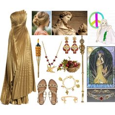 Eirene (Goddess of Peace) by lilacmayn on Polyvore featuring ASOS, The Vatican Library Collection, Catherine Weitzman, Forever 21, Pier 1 Imports and TIKI