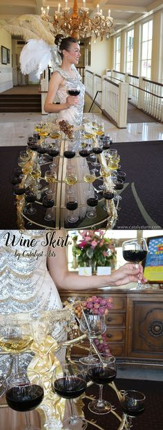 Elegant Wine Skirt hostess greeting guests at a Gala by Catalyst Arts California Chardonnay & Cabernet- Hospitality Entertainer Character Costumes, Elegant, Event Decor, Event Design, Event Planning, Special Events, Wedding Planner, Champagne, Entertaining