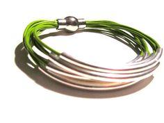 Chartreuse Fern Green Leather Cuff Bracelet by wrapsbyrenzel, $15.99