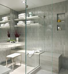open appearance, sufficient space?  Ann Sacks molded aluminum tiled shower via Elle Decor blog  #bathrooms