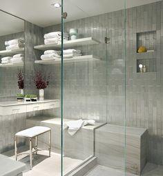 open appearance, sufficient space?  Ann Sacks molded aluminum tiled shower via Elle Decor blog  #bathrooms