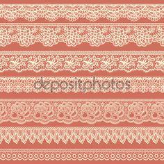 Set de bordes decorativos estilizados como cordones — Ilustración de stock #83032494