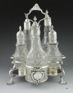 1763 English Sterling Silver Cut Glass Castor Set | eBay