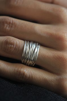 Handmade Hammered Silver Wire 98% silver ring size 6-7. $29,85, via Etsy.