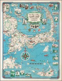 Cape Cod Chart Martha/'s Vinyard and Nantucket Vintage History Poster Wall Map